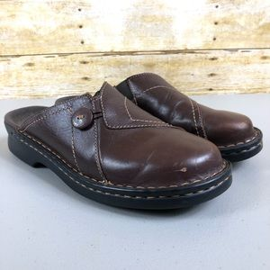Clark's Brown Leather Clogs Sz 8